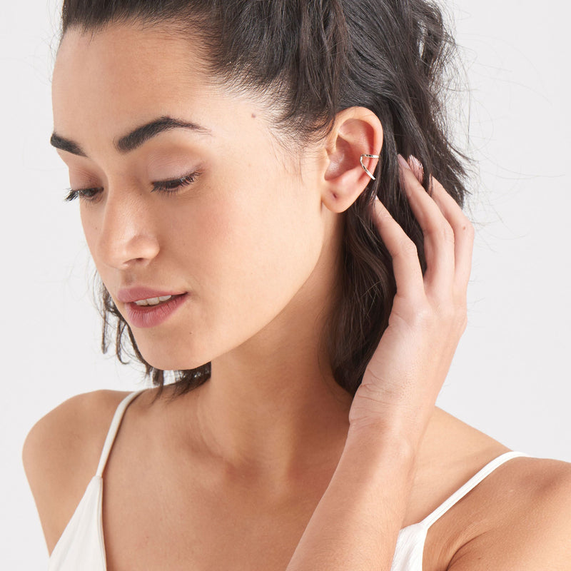Earrings: Silver Double Ear Cuff by Ania Haie Australia