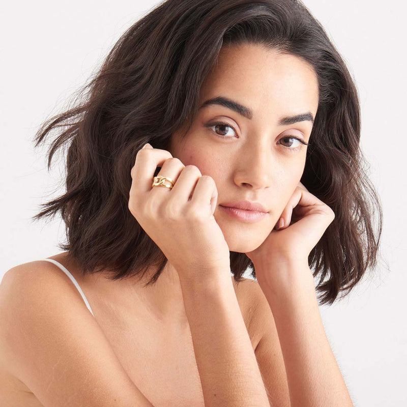 Ring: Gold Wide Curb Chain Adjustable Ring by Ania Haie Australia