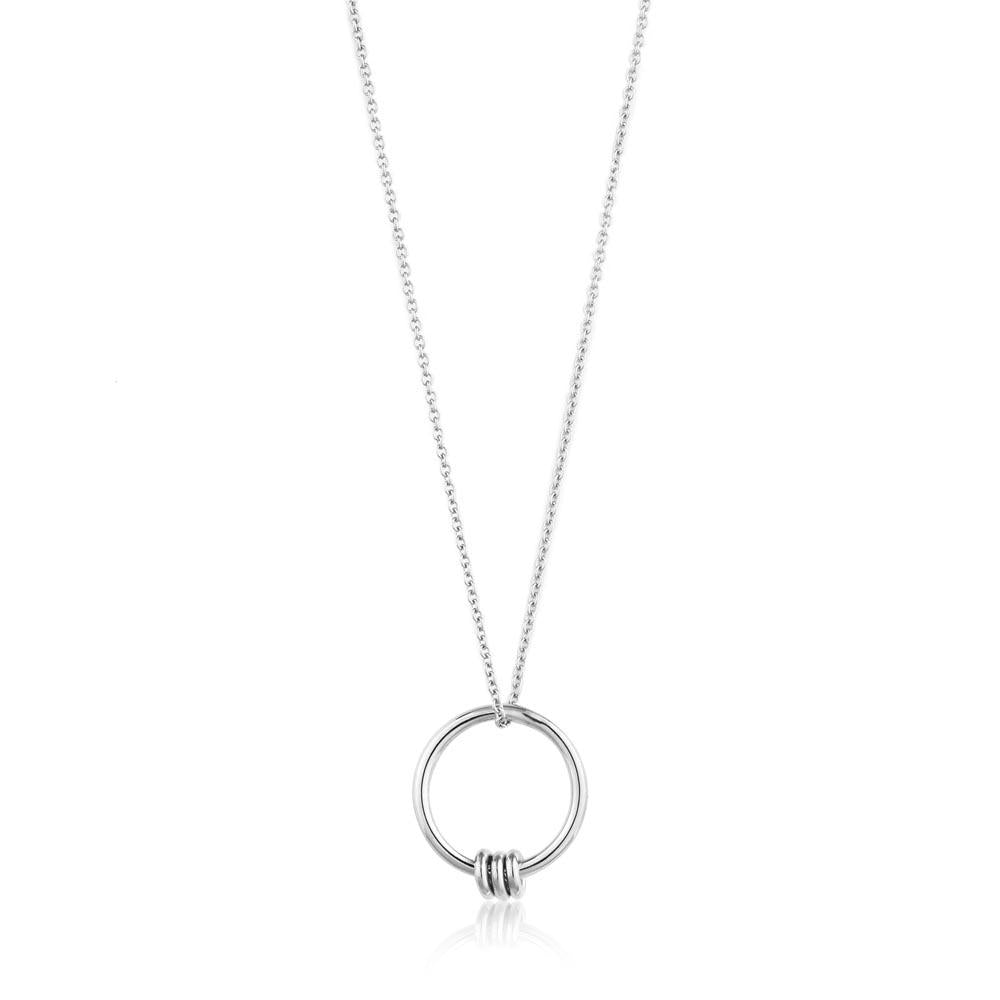 Necklace: Silver Modern Circle Necklace by Ania Haie Australia