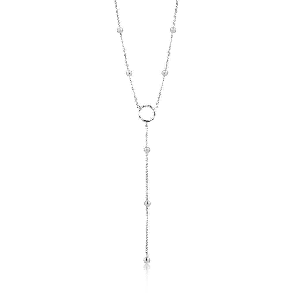 Necklace: Silver Modern Circle Y Necklace by Ania Haie Australia