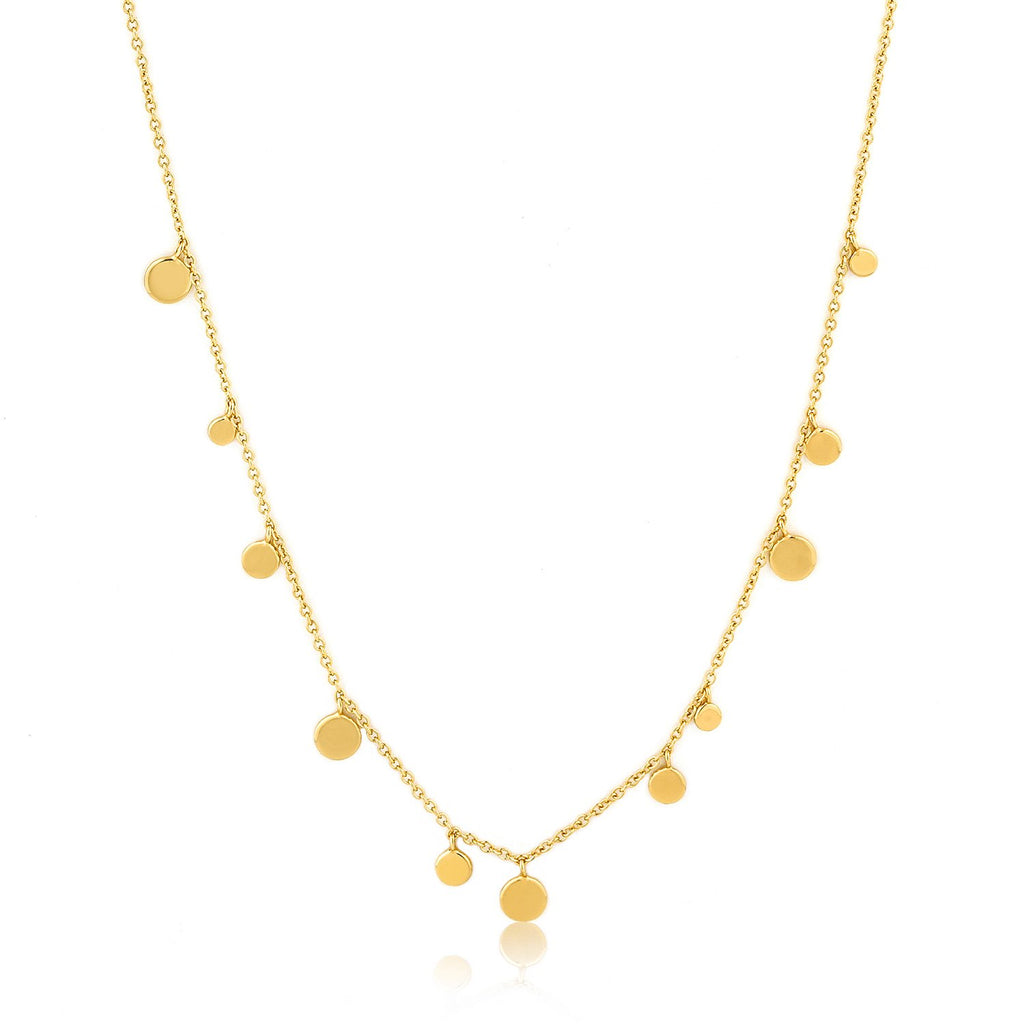 Gold Geometry Mixed Discs Necklace