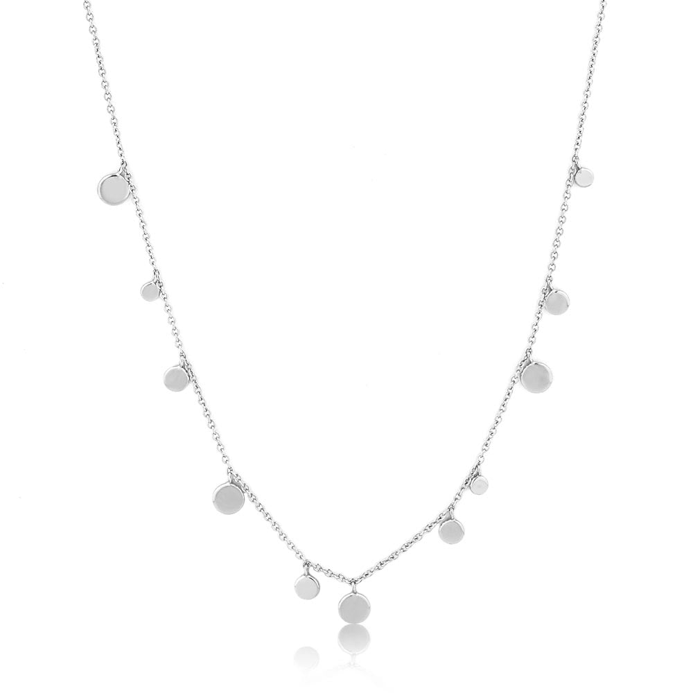 Silver Geometry Mixed Discs Necklace