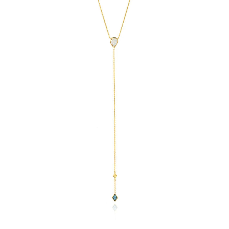 Necklace: Gold Turquoise And Opal Colour Y Necklace by Ania Haie Australia