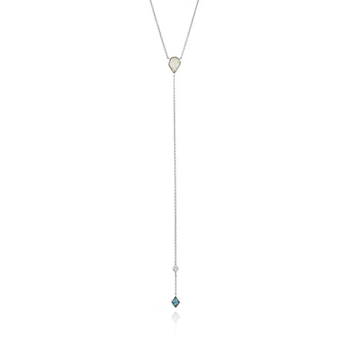 Necklace: Silver Turquoise And Opal Colour Y Necklace by Ania Haie Australia