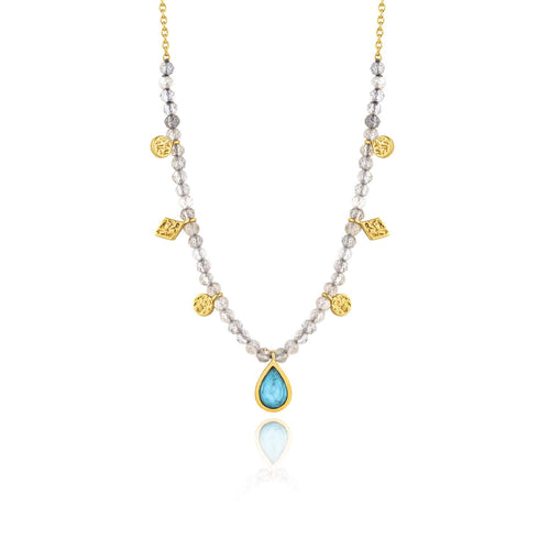 Necklace: Gold Turquoise Labradorite Necklace by Ania Haie Australia