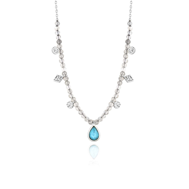 Necklace: Silver Turquoise Labradorite Necklace by Ania Haie Australia