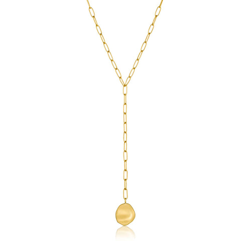 Necklace: Gold Crush Disc Y Necklace by Ania Haie Australia