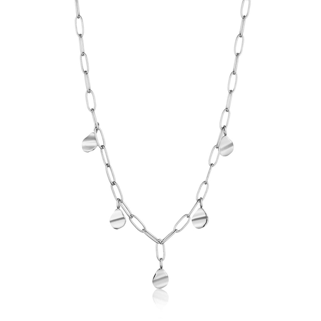 Necklace: Silver Crush Drop Discs Necklace by Ania Haie Australia