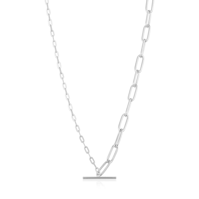 Necklace: Silver Mixed Link T-Bar Necklace by Ania Haie Australia