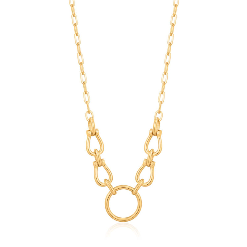 Necklace: Gold Horseshoe Link Necklace by Ania Haie Australia