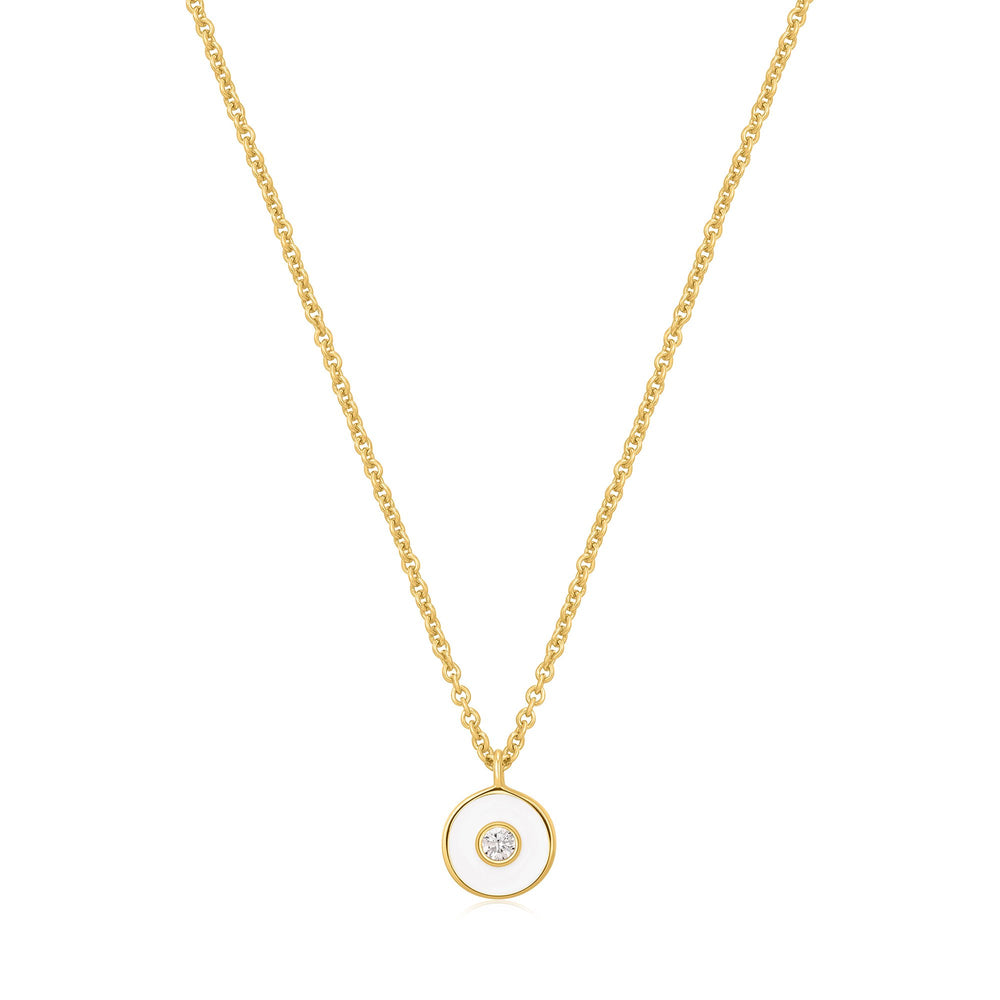 Optic White Enamel Disc Gold Necklace