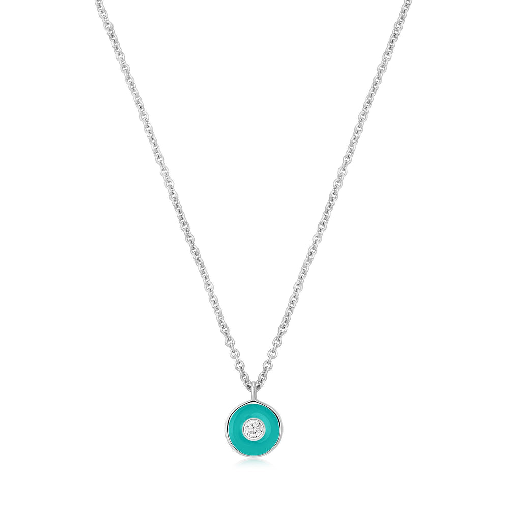 Teal Enamel Disc Silver Necklace