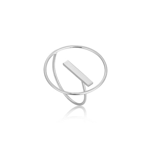 Ring: Silver Modern Circle Adjustable Ring by Ania Haie Australia