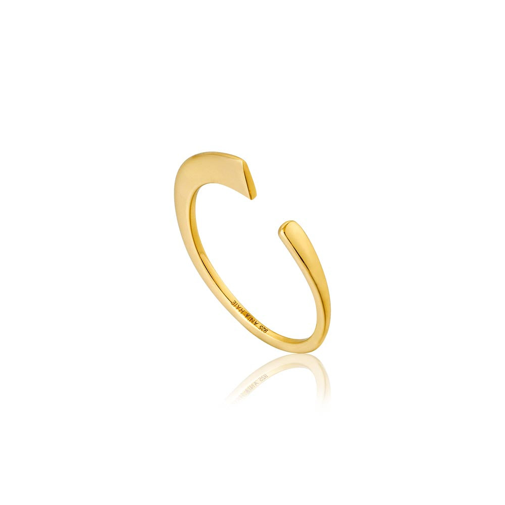 Ring: Gold Geometry Curved Adjustable Ring by Ania Haie Australia