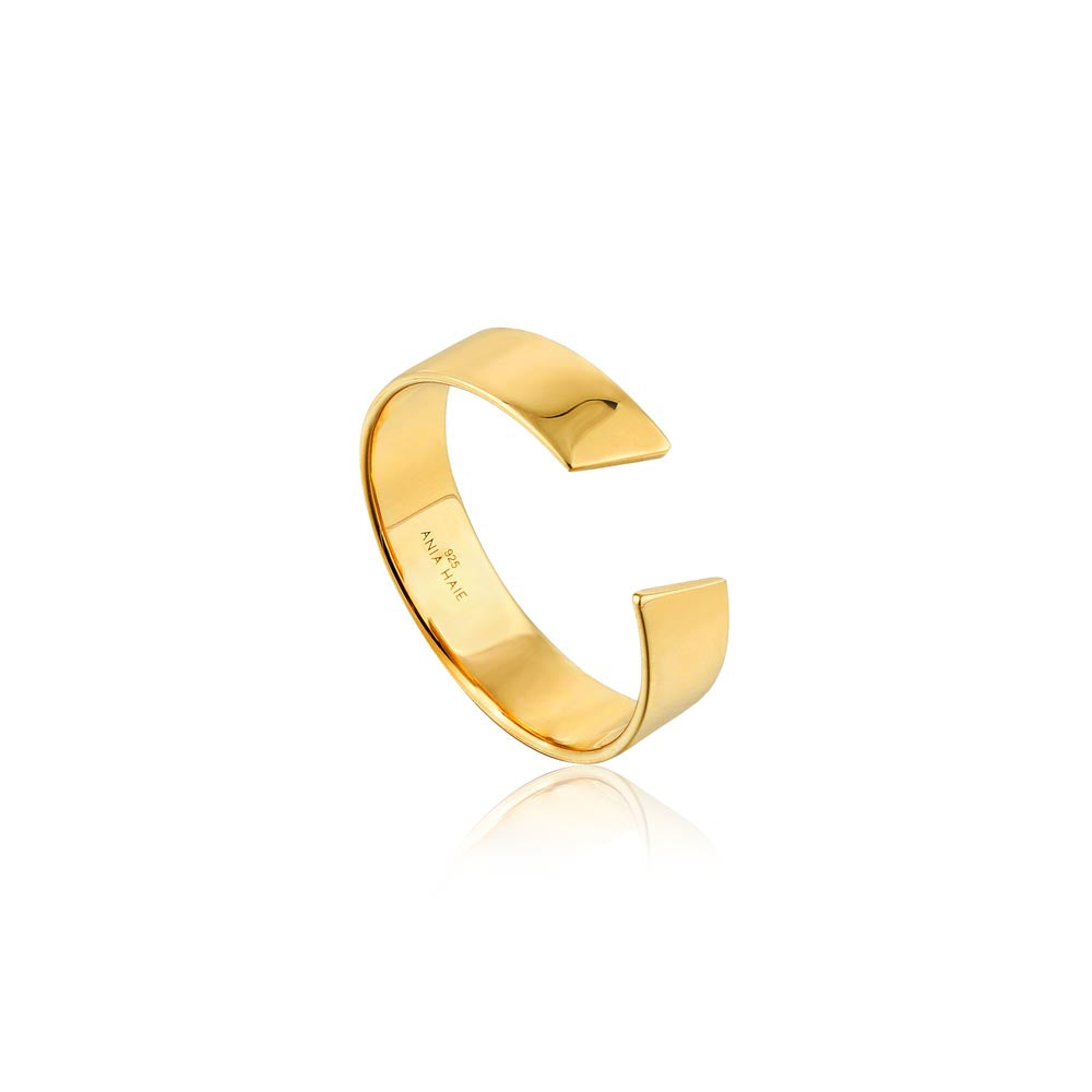 Ring: Gold Geometry Wide Adjustable Ring by Ania Haie Australia