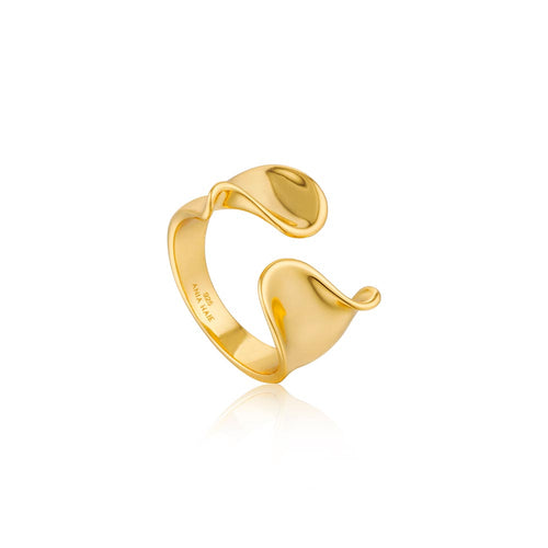 Ring: Gold Twist Wide Adjustable Ring by Ania Haie Australia