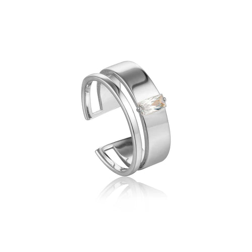 Ring: Silver Glow Wide Adjustable Ring by Ania Haie Australia