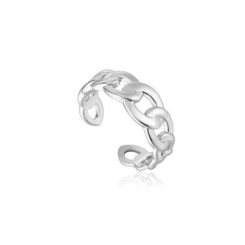 Ring: Silver Curb Chain Adjustable Ring by Ania Haie Australia