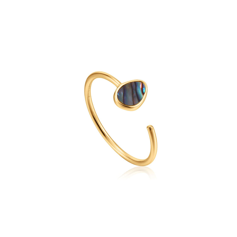 Ania Haie Gold Tidal Abalone Adjustable Ring