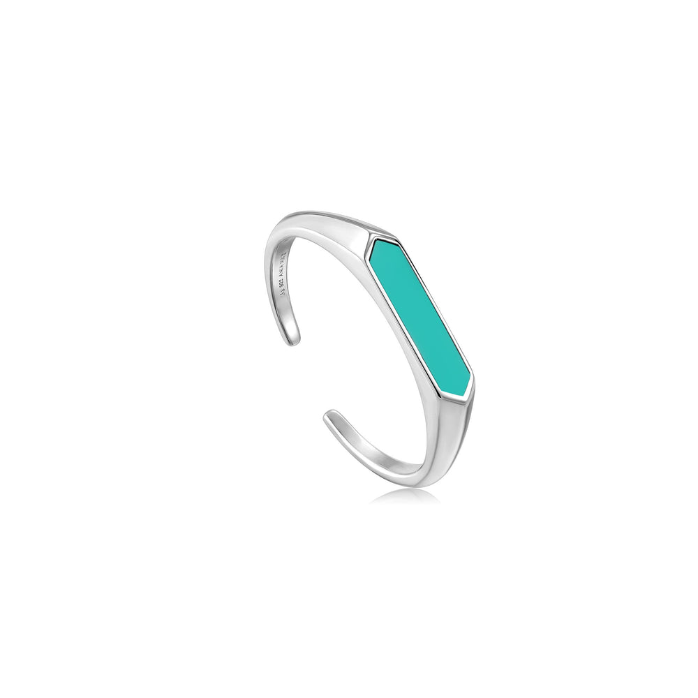 Teal Enamel Bar Silver Adjustable Ring