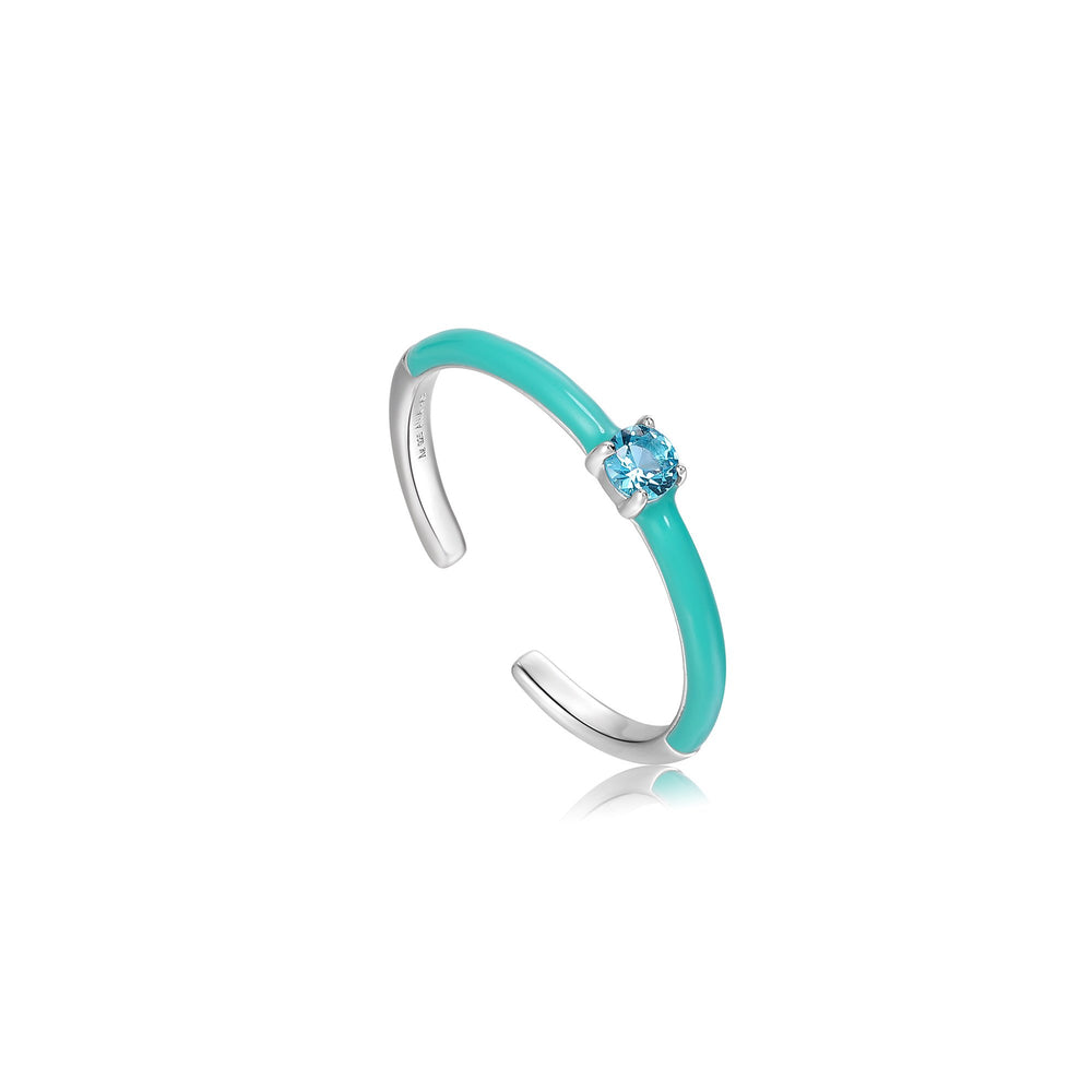 Teal Enamel Silver Adjustable Ring