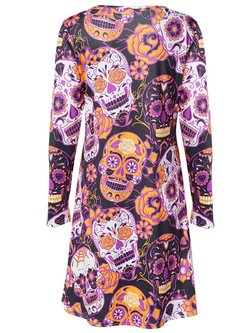 Halloween Skull Printed Flared Party Dresses
