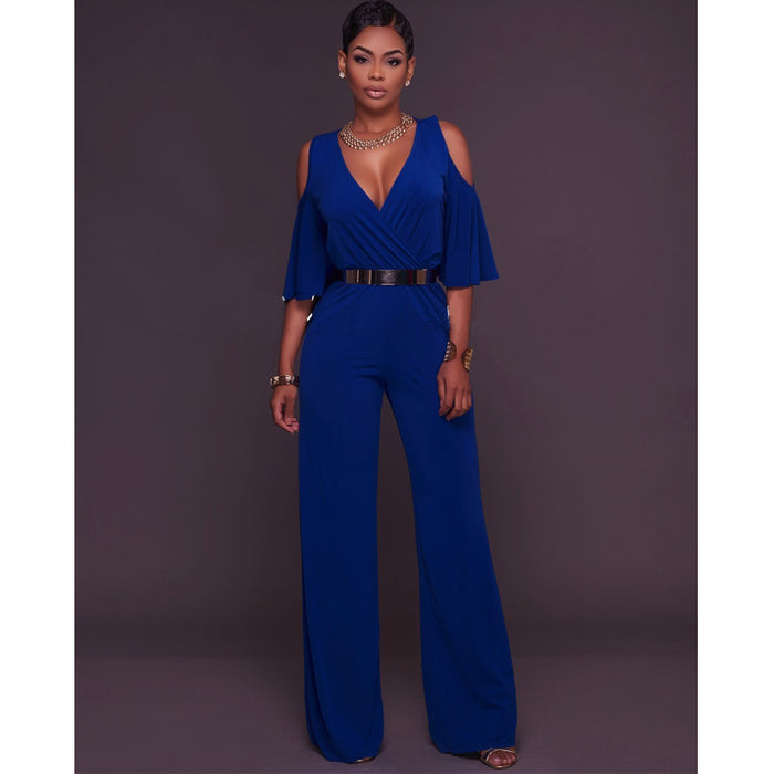 Lotus Sleeve High Waist Wide Leg Pants Jumpsuit With Belt