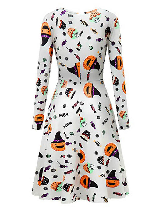 Halloween Pumpkin Printed Flared Party Dresses