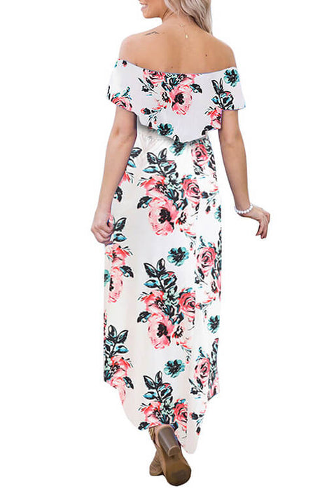 Off Shoulder Floral Pendulum Maxi Dresses