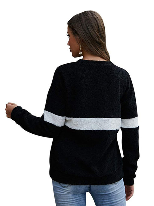 Crew Neck Striped Fleece Sweatshirt Casual Tops