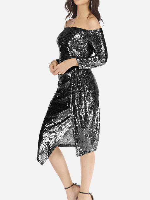 Sparkly Sequins One Shoulder Wrap Slit Midi Dresses