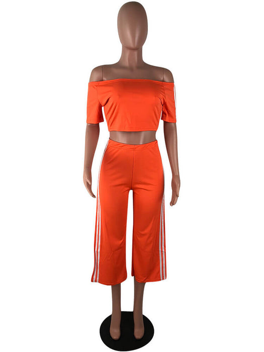 2 Pieces Crop Top Stripe Splicing Slit Pants Suits