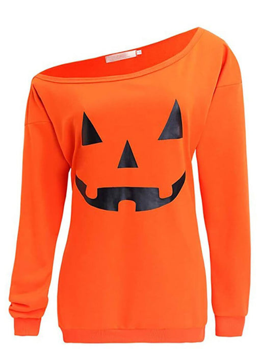 Halloween Pumpkin Off Shoulder Tops