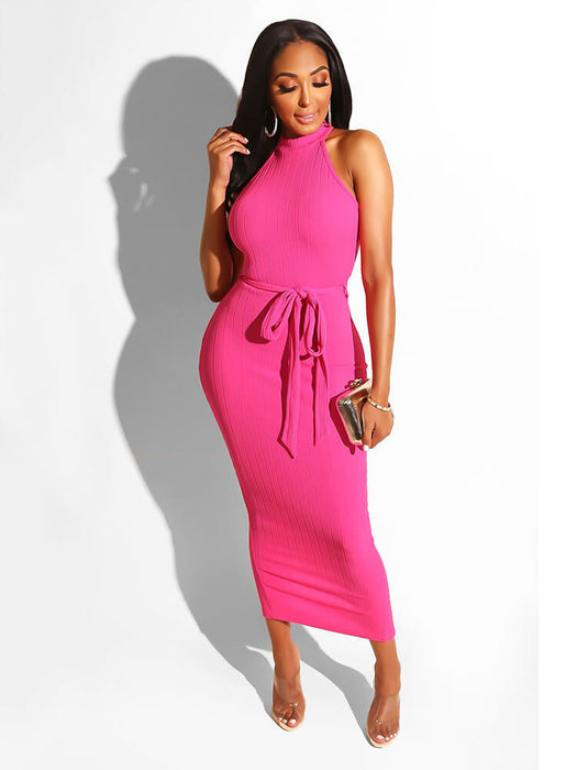 Solid Color Dresses with Belt