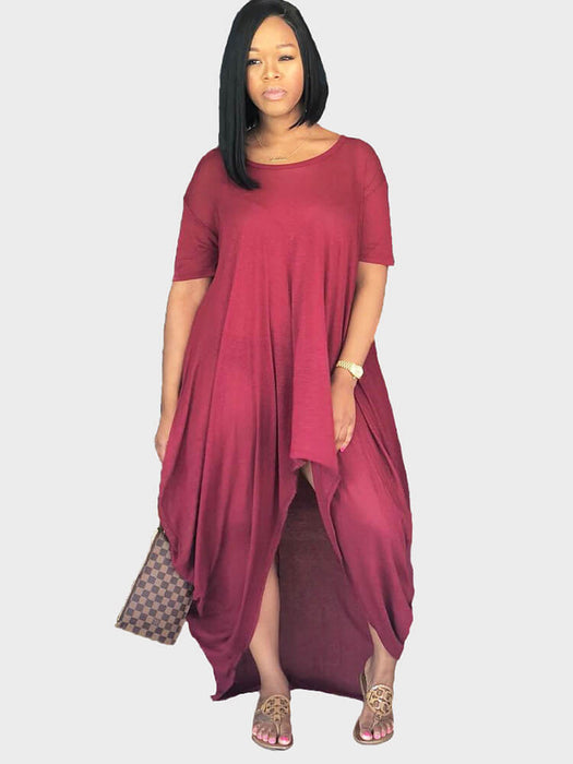 Ruched Irregular T-shirt Maxi Dresses