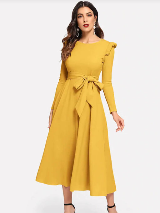 Ruffle Trim Self Belted Knot A-Line Flare Dresses