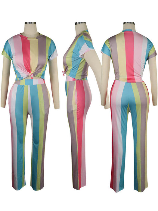 Colorful Stripe Crop Tops + Pants Suits
