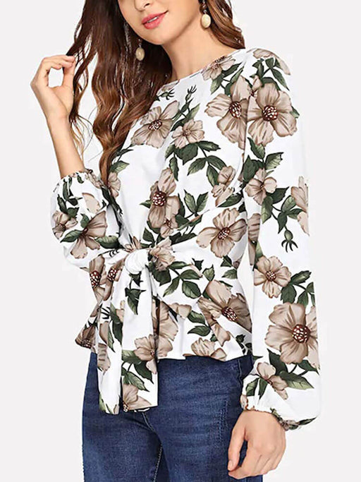 Boho Floral Print Belted Loose Shirt Blouse