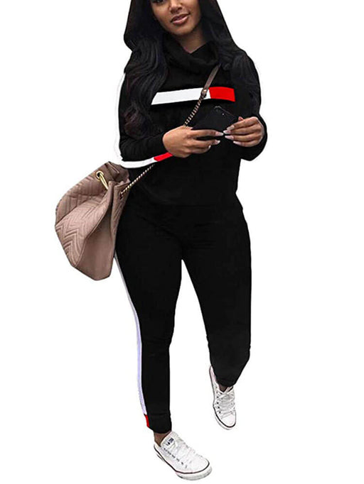 2 Pieces Sweatsuits Outfits Casual Striped Tracksuit