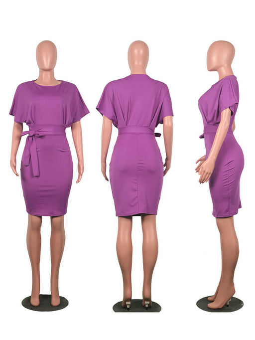Elegant Office Work Pencil Midi Dress with Belt