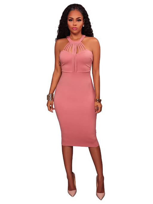 Sleeveless Hatler Zipper Bodycon Midi Dresses