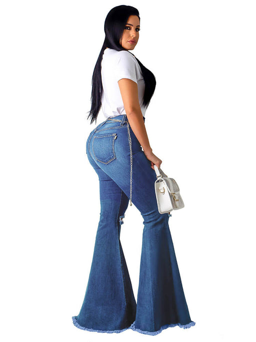 Classic Ripped High Waisted Flared Bell Bottom Jeans