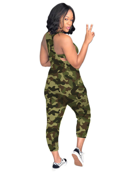 Spaghetti Strap Camouflage Loose Harem Jumpsuits Rompers