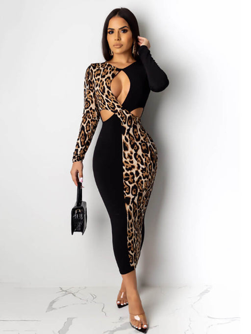 Sexy Hollow Out Leopard Patchwork Maxi Dresses