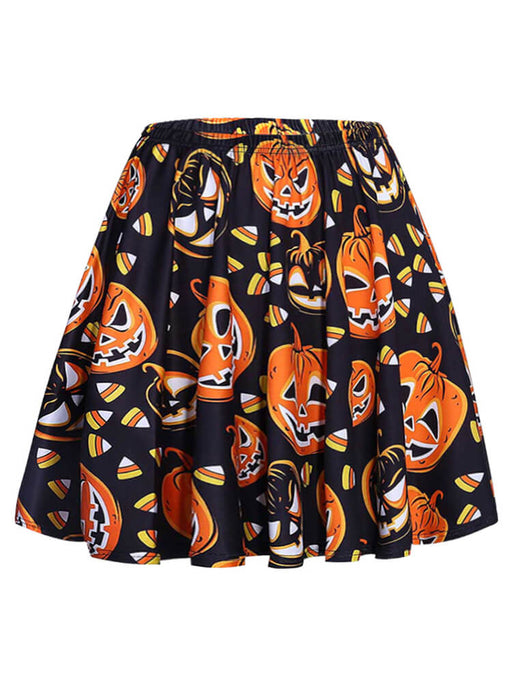 Cute Halloween Pumpkin Print Flared Mini Skirts