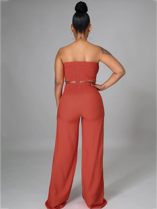 Sexy Deep V Neck Bell Sleeve Flare Bottoms Jumpsuits