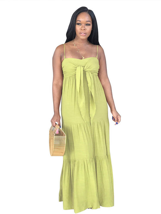 Sexy Spaghetti Strap Tie Front Pleated Loose Swing Maxi Dresses