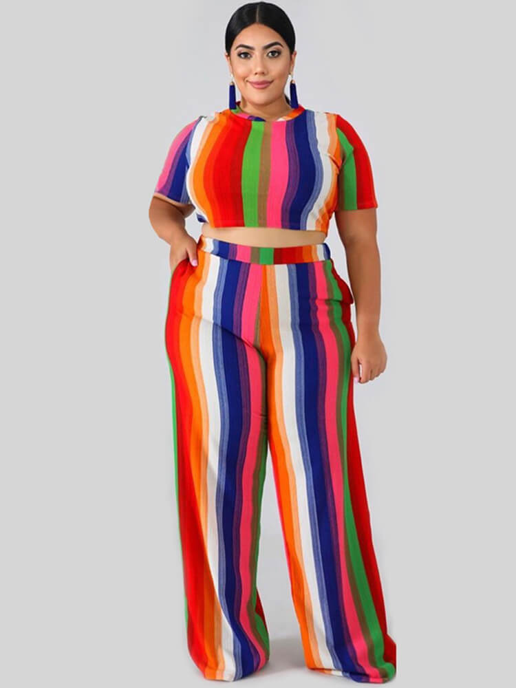 Plus Size 2 Piece Stripes Crop Top + Long Pants Sets
