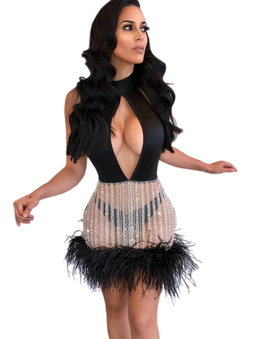 Sexy Feather Sequin Off Shoulder Mini Dresses