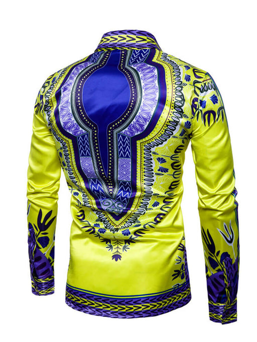 Mens African Dashiki Fashion Button Down Tops Shirts
